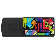 Urban Graffiti Movie Theme Productor Colorful Abstract Arrows Rectangular Usb Flash Drive by MAGA