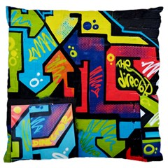 Urban Graffiti Movie Theme Productor Colorful Abstract Arrows Large Flano Cushion Case (two Sides) by MAGA
