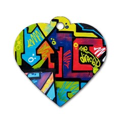 Urban Graffiti Movie Theme Productor Colorful Abstract Arrows Dog Tag Heart (one Side) by snek