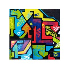 Urban Graffiti Movie Theme Productor Colorful Abstract Arrows Small Satin Scarf (square) by snek