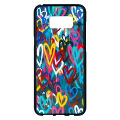 Graffiti Hearts Street Art Spray Paint Rad  Samsung Galaxy S8 Plus Black Seamless Case