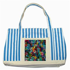 Graffiti Hearts Street Art Spray Paint Rad Striped Blue Tote Bag by MAGA