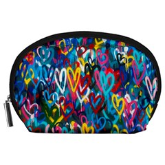Graffiti Hearts Street Art Spray Paint Rad Accessory Pouches (large)  by MAGA