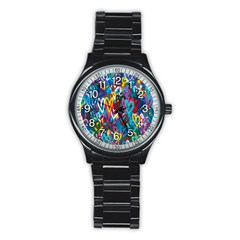 Graffiti Hearts Street Art Spray Paint Rad Stainless Steel Round Watch by MAGA