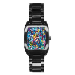 Graffiti Hearts Street Art Spray Paint Rad Stainless Steel Barrel Watch by MAGA