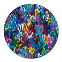 Graffiti Hearts Street Art Spray Paint Rad Round Mousepads by MAGA