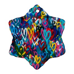 Graffiti Hearts Street Art Spray Paint Rad Ornament (snowflake)
