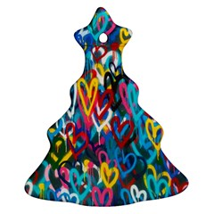 Graffiti Hearts Street Art Spray Paint Rad Ornament (christmas Tree)  by snek