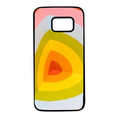 Graffiti Orange Lime Power Blue And Pink Spherical Abstract Retro Pop Art Design Samsung Galaxy S7 Black Seamless Case