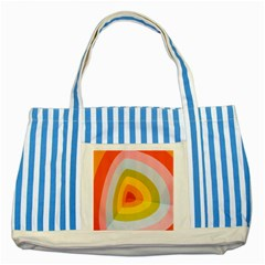 Graffiti Orange Lime Power Blue And Pink Spherical Abstract Retro Pop Art Design Striped Blue Tote Bag
