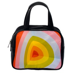 Graffiti Orange Lime Power Blue And Pink Spherical Abstract Retro Pop Art Design Classic Handbags (one Side)