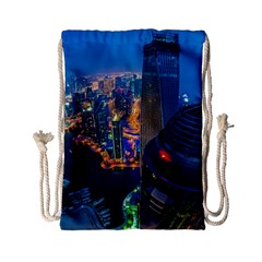City Dubai Photograph From The Top Of Skyscrapers United Arab Emirates Drawstring Bag (small)