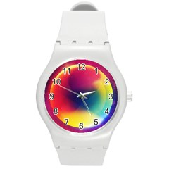 Colorful Glowing Round Plastic Sport Watch (m)