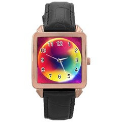 Colorful Glowing Rose Gold Leather Watch