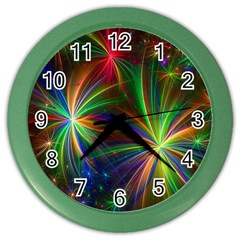 Colorful Firework Celebration Graphics Color Wall Clocks by Sapixe