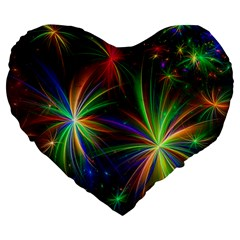Colorful Firework Celebration Graphics Large 19  Premium Flano Heart Shape Cushions by Sapixe