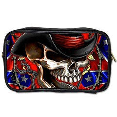 Confederate Flag Usa America United States Csa Civil War Rebel Dixie Military Poster Skull Toiletries Bags by Sapixe