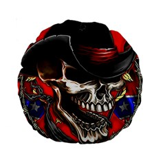 Confederate Flag Usa America United States Csa Civil War Rebel Dixie Military Poster Skull Standard 15  Premium Round Cushions by Sapixe