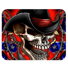 Confederate Flag Usa America United States Csa Civil War Rebel Dixie Military Poster Skull Double Sided Flano Blanket (medium)