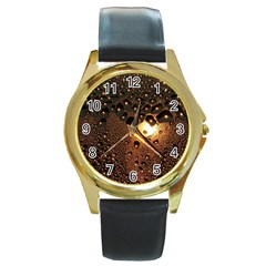 Condensation Abstract Round Gold Metal Watch by Sapixe