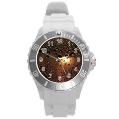 Condensation Abstract Round Plastic Sport Watch (l) by Sapixe