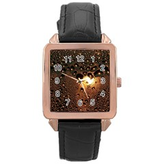 Condensation Abstract Rose Gold Leather Watch  by Sapixe