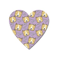 Dog Pattern Heart Magnet by Sapixe