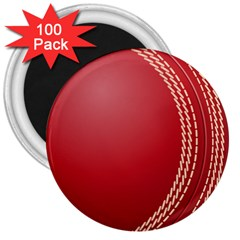 Cricket Ball 3  Magnets (100 Pack) by Sapixe