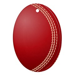 Cricket Ball Oval Ornament (two Sides)