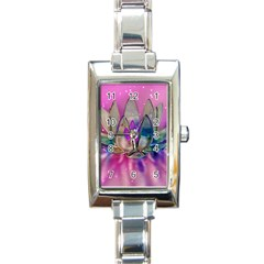 Crystal Flower Rectangle Italian Charm Watch by Sapixe
