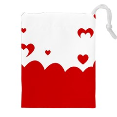 Heart Shape Background Love Drawstring Pouches (xxl)