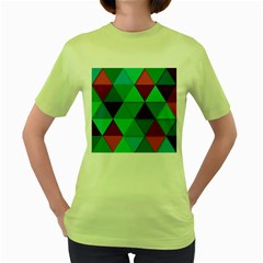 Background Geometric Triangle Women s Green T Shirt