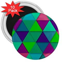 Background Geometric Triangle 3  Magnets (10 Pack)  by Nexatart