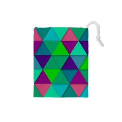 Background Geometric Triangle Drawstring Pouches (small)
