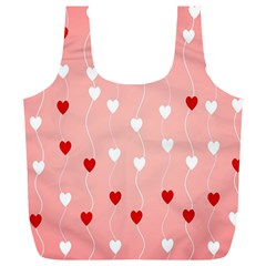 Heart Shape Background Love Full Print Recycle Bags (l)