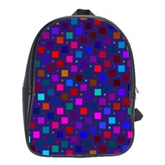 Squares Square Background Abstract School Bag (large)