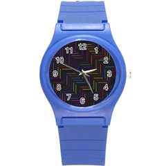 Lines Line Background Round Plastic Sport Watch (s)