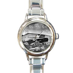 Omaha Airfield Airplain Hangar Round Italian Charm Watch