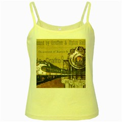 Train Vintage Tracks Travel Old Yellow Spaghetti Tank
