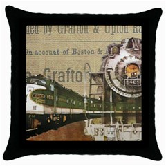 Train Vintage Tracks Travel Old Throw Pillow Case (black)