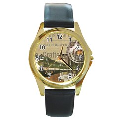 Train Vintage Tracks Travel Old Round Gold Metal Watch