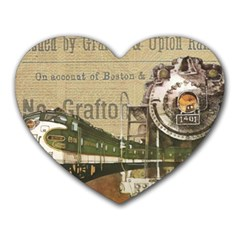Train Vintage Tracks Travel Old Heart Mousepads