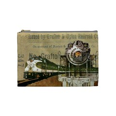 Train Vintage Tracks Travel Old Cosmetic Bag (medium)  by Nexatart