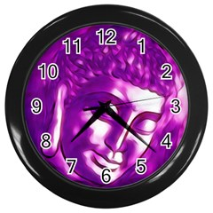 Purple Buddha Art Portrait Wall Clocks (black) by yoursparklingshop