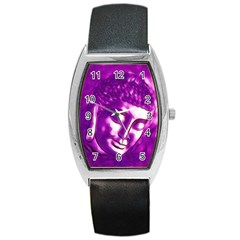 Purple Buddha Art Portrait Barrel Style Metal Watch