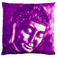 Purple Buddha Art Portrait Large Flano Cushion Case (two Sides) by yoursparklingshop