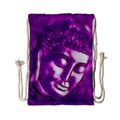 Purple Buddha Art Portrait Drawstring Bag (small) by yoursparklingshop