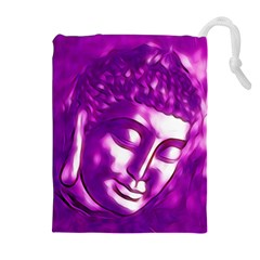 Purple Buddha Art Portrait Drawstring Pouches (extra Large) by yoursparklingshop