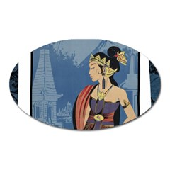 Java Indonesia Girl Headpiece Oval Magnet