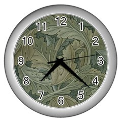 Vintage Background Green Leaves Wall Clocks (silver)